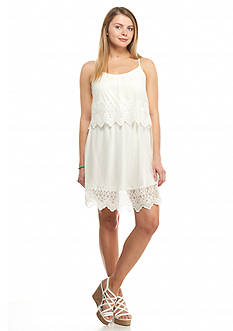 Trixxi Embroidered Popover Lace Dress