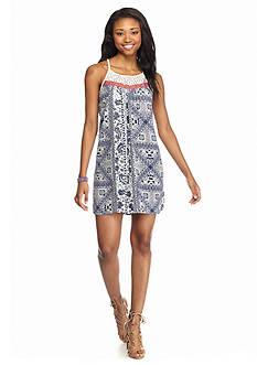 Trixxi Printed Lace Neck Trapeze Dress