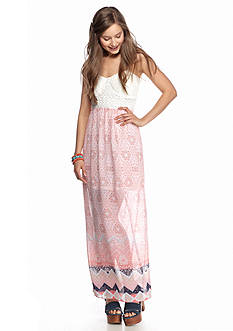 Trixxi Crochet Top Printed Maxi Dress