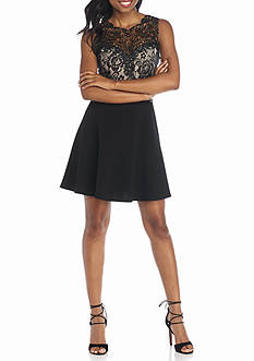 Trixxi Lace Top Fit In Flare Dress