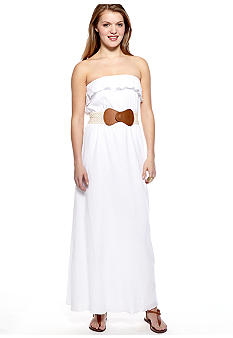 Trixxi Strapless Gauze Maxi Dress With Crochet Belt