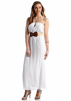 Trixxi Ruffle Top Belted Maxi Dress