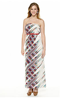 Trixxi Printed Strapless Ruffle Belted Maxi Dress