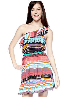 Trixxi Printed One Shoulder Dress with Ruffles