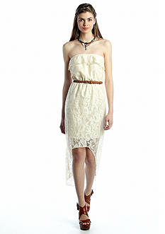 Trixxi Crochet High-Low Dress with Belt