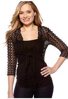 New Directions Tie Front Wavy Knit Shrug