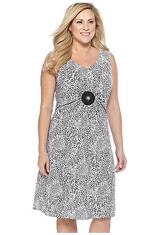 Lennie for Nina Leonard Plus Size Sleeveless Printed Shift Dress