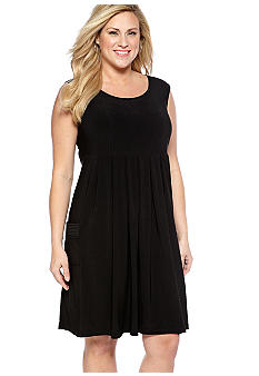New Directions Plus Size Sleeveless Empire Waist Dress