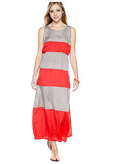 Pink Rose Sleeveless Stripe Color Block