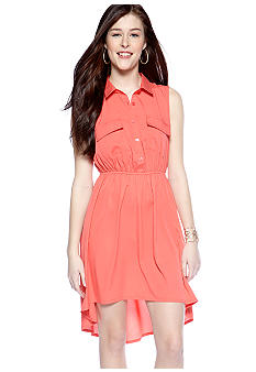 Pink Rose Sleeveless Solid Shirt Dress