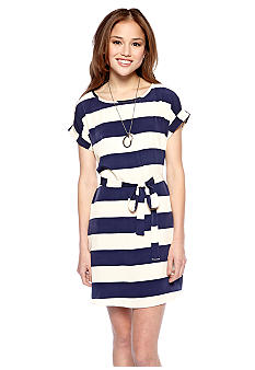 Pink Rose Wide Stripe Shirt Dress with Tie