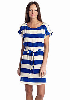 Pink Rose Wide Stripe Dress