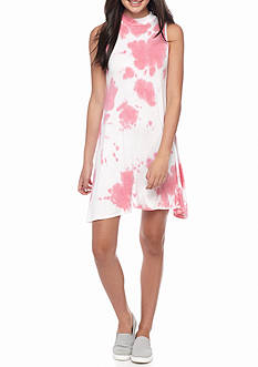 Living Doll Tie Dye Printed Mock Neck Swing Dress
