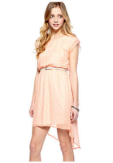 Living Doll Short Sleeve Hi Lo Chiffon Dot