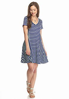 Living Doll V Neck Striped Knit Dress