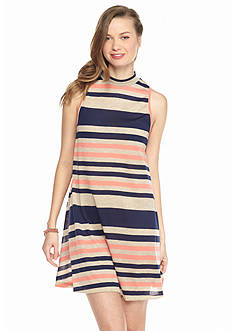 Living Doll Mock Neckline Stripe Swing Dress