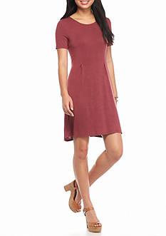 Living Doll Short Sleeve Knit Crepe Pleated Swing Dress