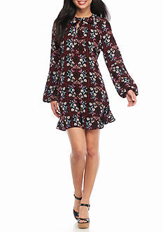 Living Doll Long Sleeve Woven Floral Printed Tie Neck Dress