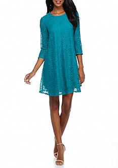 Sharagano Lace Trapeze Dress