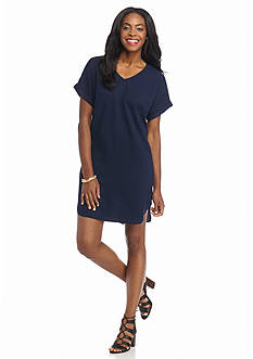 Sharagano Roll-Sleeve Shift Dress
