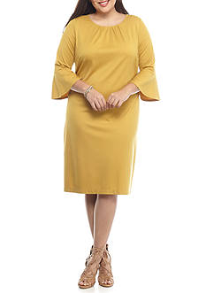 Sharagano Plus Size Bell-Sleeve Shift Dress
