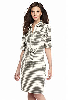 Sharagano Striped Shirt Dress