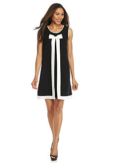 Sharagano Bow Front Colorblock Dress