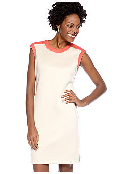 Sharagano Cap Sleeved Colorblock Shift Dress