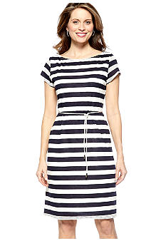 Sharagano Cap-Sleeved Stripe Shift Dress
