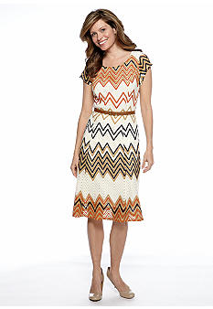 Sharagano Belted Zig Zag Knit A-Line Dress