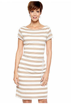 Sharagano Petite Cap-Sleeved Stripe Belted Dress