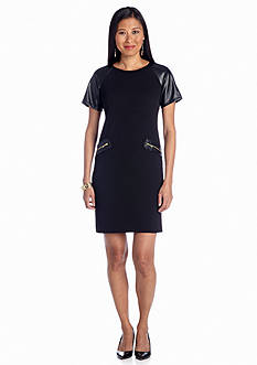 Julia Jordan® Short-Sleeve Shift Dress with Faux Leather