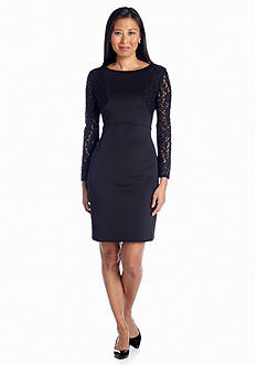Julia Jordan® Long-Sleeve Sheath Dress with Lace