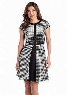 Julia Jordan® Houndstooth Fit-and-Flare Dress