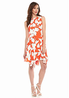 Julia Jordan Printed Chiffon Trapeze Dress