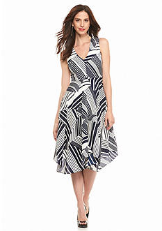 Julia Jordan Striped Hanki Hem Dress