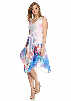 Julia Jordan Printed Hanky Hem Dress