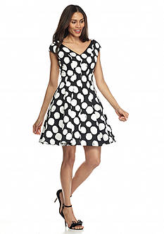 Julia Jordan Polka Dot Jacquard Fit and Flare Dress