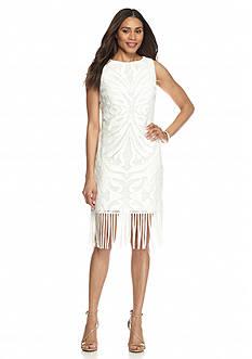Julia Jordan Lace Sheath Dress with Tassel Hem