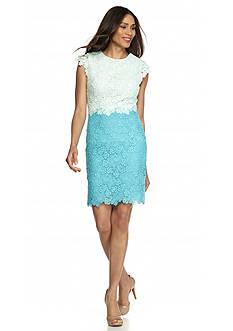 Julia Jordan Lace Colorblock Sheath Dress