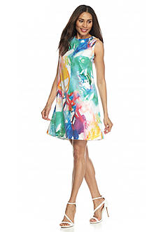 Julia Jordan Rainbow Sequin Trapeze Dress