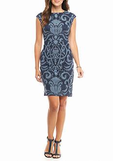 julia jordan Printed Lace Sheath Dress