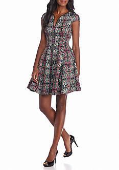 julia jordan Floral Printed Fit and Flare Dress