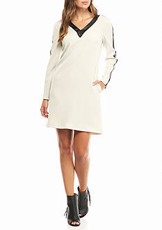 julia jordan Colorblock Shift Dress with Faux Leather Trim
