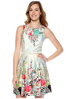 Luxology Sleeveless A-Line Printed Belted Dress