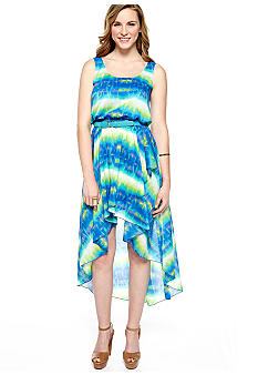 Luxology Sleeveless Printed Hi-Lo Belted Dress