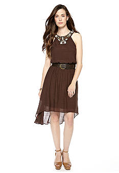 Luxology Halter Hi-Lo Belted Dress with Embellished Neckline