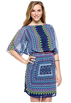 Luxology Dolman Cold Shoulder Printed Belted Dress