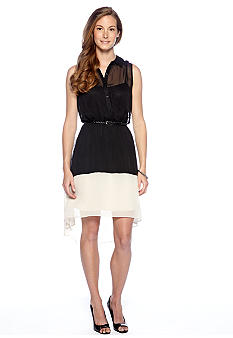 Luxology Sleeveless Hi-Lo Shirt Dress