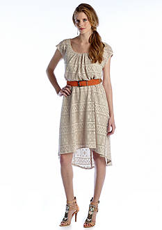 Luxology™ Cap Sleeve High-Low Belted Dress